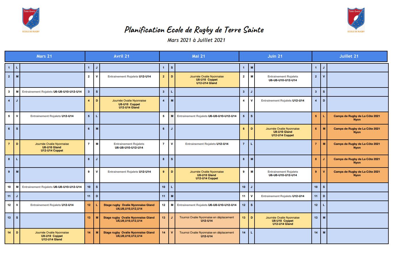 Schedule Rugby Terre Sainte 2021